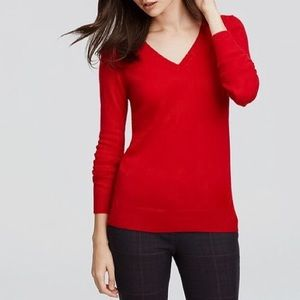 Ann Taylor Cashmere Red V-Neck Sweater
